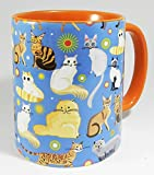 The Cat Collection Mug with orange inner and handle by Half a Donkey