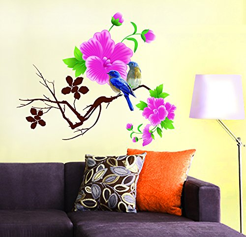 Decals Design 'Design Blue Birds with Flowers' Wall Sticker (PVC Vinyl, 60 cm x 45 cm)