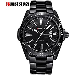 CURREN Men's Fashion Sports Quartz Analog Black Dial Stainless Steel Strap Wrist Watches 8110G