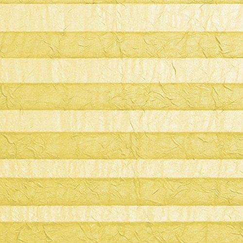 casa pura® Plissee Rollo   mit eleganter Crushed Optik   Klemmfix ohne Bohren   lichtdurchlässig & blickdicht   gelb   8 Größen (120x100cm) - 4