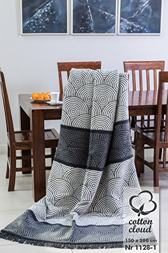 Cotton Cloud Wohndecken Kuscheldecken Premium Class Marke 150x200 (1128/1) grau Gemustert
