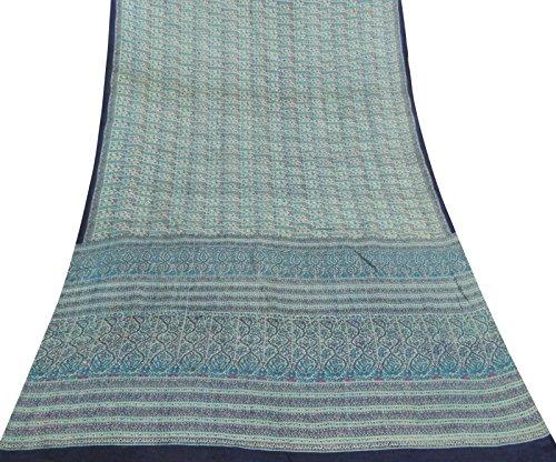 Grünes Kleid machen Vintage-Sari Paisley druckte 100% Seide Saree Craft Fabric (Paisley Sari)