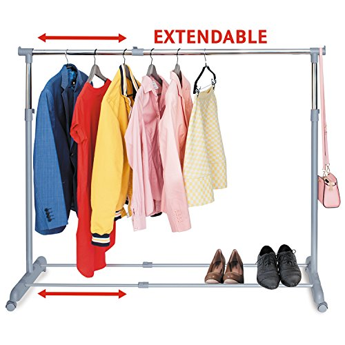 Tatkraft Party Kleiderständer Kleiderstange ausziehbar mit Schuhablage Stahlrohr Verchromt 161.5X44X166cm