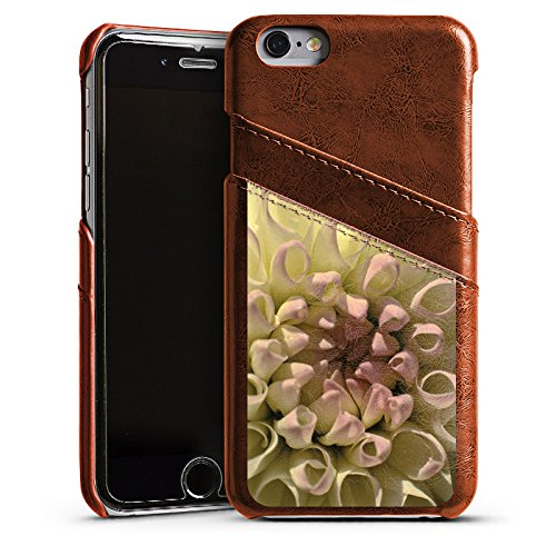 Apple iPhone 5 Housse étui coque protection Fleur Fleur Dahlia Étui en cuir marron