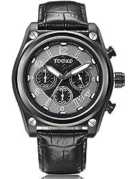Time100 Fashion Men's Multifunction Three Case Dial Quartz Watch #W70112G.03A (black)