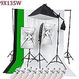 ETiME Hintergrundsystem Fotostudio 3x Softbox 9 Fotolampen mit 3 Hintergrundstoff 3x 2M Lampenstativ 1x Galgenstativ Tageslich