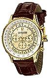 Calvaneo 1583 Herren-Armbanduhr Defcon Diamond Gold Champagne Analog Quarz Leder gold 32