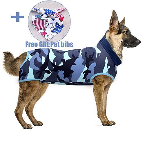 Recovery Suit Hund, Kleidung für Genesung nach der Operation E-Kragen Alternative für Hunde Haustiere Kleidung Innenraum (XXL, Camouflage Blue)