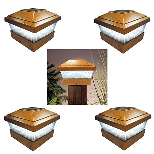 Nuovo 4x Post Ponte Pac Square ad energia solare luci di recinzione da giardino lampada in bronzo - Bronzo Giardino Recinzione