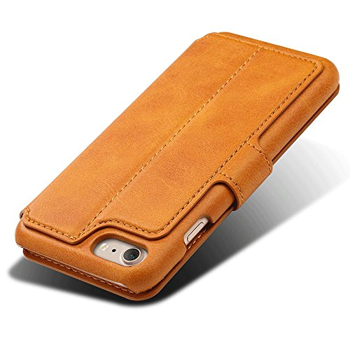iPhone Case Hülle Kunst Leder Brieftasche mit Kartenfächer iPhone 6/6S/7/6 Plus/6S Plus/7 Plus 4,7/ 5,5 Zoll Geldscheinfach Premium Börse Tasche Handy Schutzhülle,6 Farben Gelb