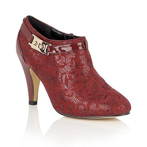 Lotus Jacaranda Womens High Cut Court Shoes 4 Burgundy Floral Print
