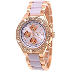 NY Designer Ladies 'Watch, Exclusive Ladies Rhinestone Chronograph look watch, Lavender, Rose Gold, as a good gift + free Watch Box