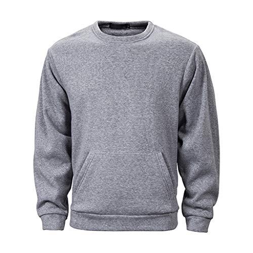 Xmiral Kapuzenpullover Herren Einfarbig Herbst Winter Langarm Sweatshirts mit Großer Hut Slim Taschen Pullover Tops(Grau,M)