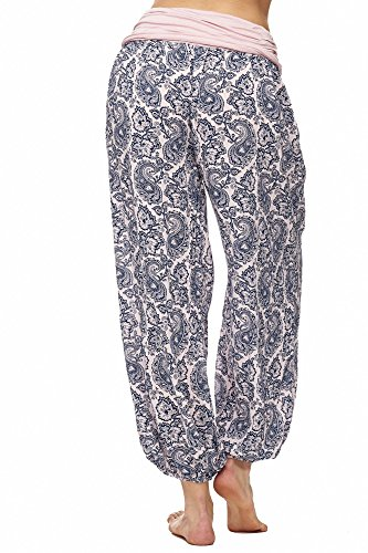 JillyMode Leichte Haremshose OneSize in viele Muster A1077 A1105-Lotus-Pink-Blau