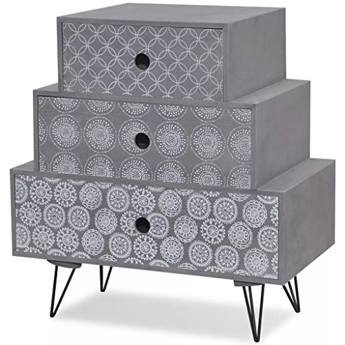 Anself Bedside Cabinet 3 Drawers Chest of Drawers Bedroom Table Furniture Grey