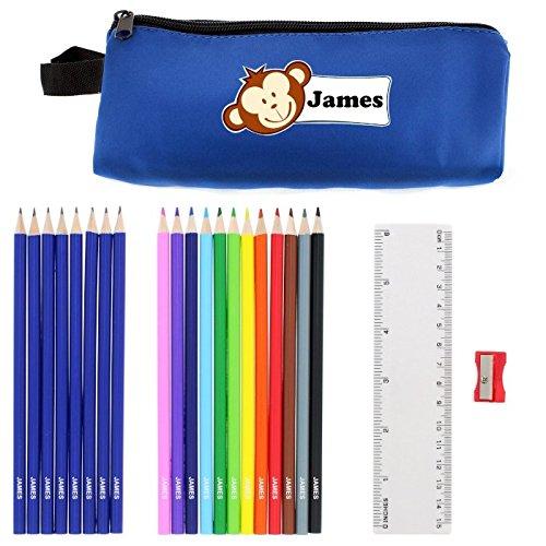 Personnaliser &Trousse à crayons en forme de petit singe, cadeaux personnalisés pour l'école garçons étuis