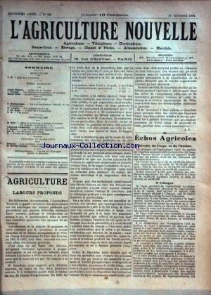 AGRICULTURE NOUVELLE (L') [No 182] du 13/10/1894 - AGRICULTURE PAR DUBOIS - TROUDE - BLIN - VITICULTURE PAR BATTANCHON - LATIERE - BOUE - HORTICULTURE PAR COUTURIER - BLIN - MOTTET - ELEVAGE PAR FONTAN - GEORGE par Collectif