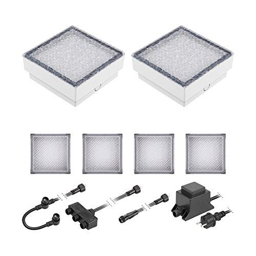 ledscom.de LED Pflaster-Stein Gorgon Boden-Einbauleuchte für außen, 15x15cm, 12V, warm-weiß 6er Set (15 Stein)