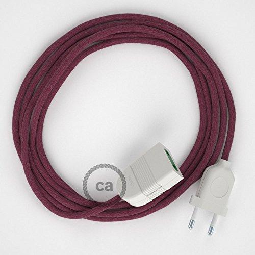 Preisvergleich Produktbild Textil Verlängerungskabel Baumwolle Burgund RC32 (2P 10A) Made in Italy. - 5 Meter, Schwarz