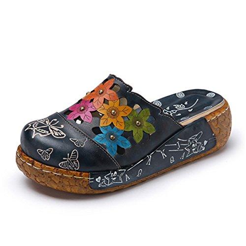 Socofy Damen Sandalen, Sommer Leder Sandalen Damen Pantoletten Slip-Ons Vintage Slipper Pumps Zehentrenner Bequem Blume