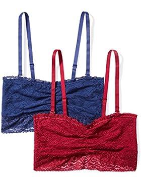 Iris & Lilly Sujetador Bandeau de Encaje Suave Mujer, Pack de 2