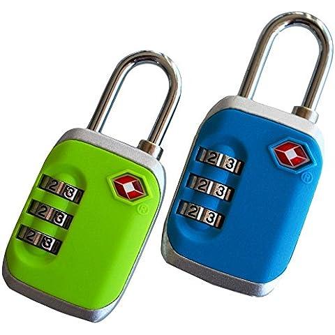 Candado verde y azul para equipaje aprobado por la TSA – Conjunto de 2 cerraduras de seguridad con combinación para maletas – Ideal para las vacaciones de invierno – de
