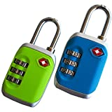 Candado para equipaje aprobado por la TSA verde y azul – Conjunto de 2 cerraduras de combinación – de Globeproof®
