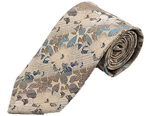 Silk Ties Krawatte Klassisch Floral Braun Beige Seide Seidenkrawatte Tie 8,5 cm Pure Silk Floral Tie