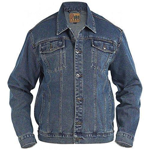 Große Größe Herren Duke London Denim Trucker Steinwäsche Jacke - Baumwolle, nicht angegeben, 90% baumwolle 10% viskose, Herren, Blau, 6XL