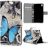 Mavis's Diary Coque Sony Xperia E5 Étui en Cuir Housse de Protection Phone Case Cover Étui à Rabat pour Sony Xperia E5 Papillon Dessin Fente de Carte Support Portefeuille Personnalité Magnétique+Chiffon