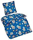 Aminata Kids - Kinder-Bettwäsche-Set 135-x-200 cm Weltraum-Motiv Weltall Astronaut Universum Planet-en 100-% Baumwolle Renforce dunkel-blau-e