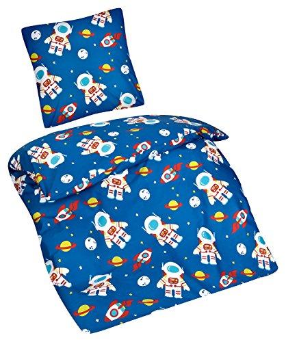 Aminata Kids - Kinder-Bettwäsche-Set 135-x-200 cm Weltraum-Motiv Welt-All Astronaut-en Universum Planet-en Erde Space-Shuttle   100-% Baumwolle Renforce   Reißverschluss   blau Weiss (Kinder Queen Bettbezug)