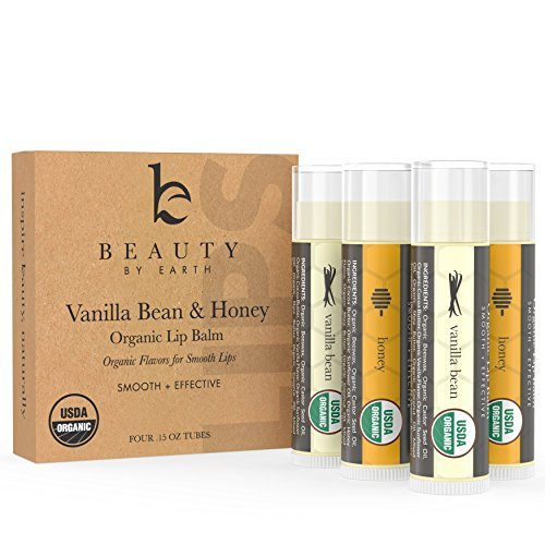 Lip Balm - Beauty by Earth Lip Care Vanilla Bean & Honey 4 Pack - 100% Natural and Pure Beeswax Lip Butter with Aloe Vera & Vitamin E - Condition and Repair Dry Chapped Lips