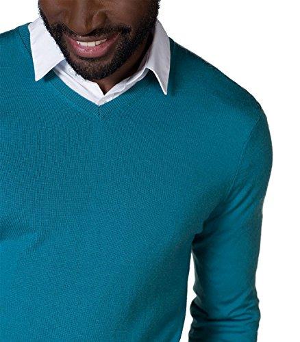WoolOvers Neuer Pullover mit V-Ausschnitt aus Merinowolle für Herren Teal