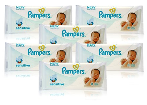 6x Pampers SENSITIVE BABY WIPES Handy Travel Size Convenience 12 WIPES PER PACK 51bfwJa 2BSdL