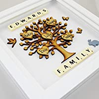 Gift for Parents. Family Tree Personalised Frame. Framed Family Tree. Christmas Present Gift for Mum Dad Children family tree 3d wall-art