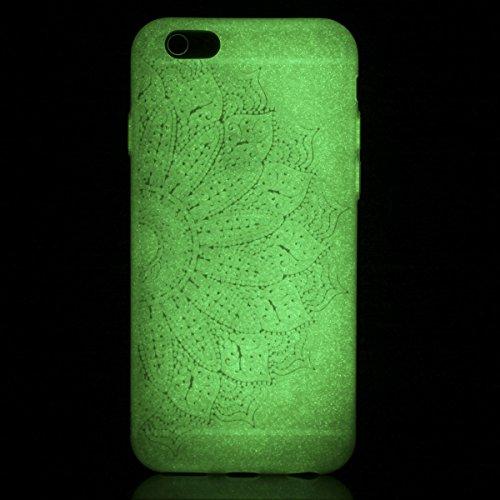 BONROY® Coque pour iPhone 6 6S (4,7 Zoll), Etui Housse de Protection Nuit Luminous Glow Series Transparente Silicone Case Cover Souple TPU Ultra Mince Coquille Anti-scratch Anti Choc Bumper Demi-fleur