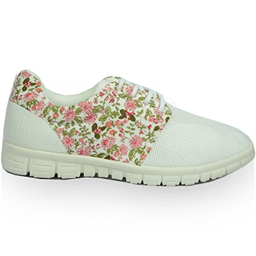 UK Ladies Womens Mesh Gym Jogging Trainers Go Walk Running Sneakers Cleated Lightweight Air Sole Girls Fitness Sport Shoes Size UK 3 4 5 6 7 8 (UK 6, White Flowers)