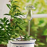 6 Types Glass Plant Flowers Drip Watering Hand Self-Watering System Irrigation for Indoor Outdoor Small Potted Plants Watering (Mushroom)