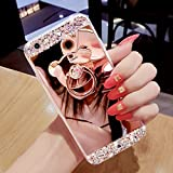 Galaxy S6 Case,Galaxy S6 Glitter Case Cover,Felfy Glitter Makeup Mirror Effect Luxury Crystal Rhinestone [Anti-Scratch]+[Abrasion Resistance]+[Drop Protection] with Bear Back Ring Holder Bling Shiny Bumper Skin Protective Cover for Samsung Galaxy S6 ,1 Stylus pen,1 Dust Plug.Rose Gold#2