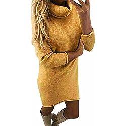 JUNMY Mujer Vestido Blusa de Punto Jersey de otoño e Invierno Suéter Largo de Cuello Alto Sudadera Abrigo Camisa Pullovers Tops Outerwears