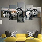 adgkitb canvas HD Impresiones en Lienzo decoración de la Imagen de la Cama Cinco Piezas Animales Lobos Impresiones de la Pared Pinturas caseras vendiendo Wandbilder