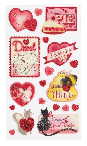 Unbekannt Sticko Retro Valentines Pergamentpapier und Glitzer Aufkleber -
