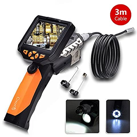 3.5 Inch LCD Monitor Inspection Camera Endoscope CrazyFire Borescope Camera with 1 CREE LED Flashlight 9.8ft/3m Probe Tube 8.2mm Diameter Digital Video Borescope for Automotive Electrical Plumbing Vehicles Inspection