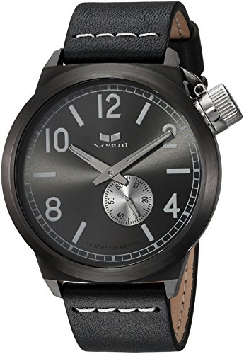 Vestal Quartz Stainless Steel and Leather Dress Watch, Color:Black (Model: CNT453L04.BKWH)