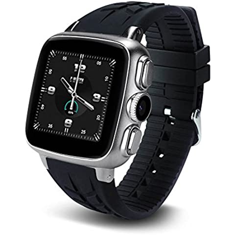 Letech 3G Bluetooth smart Watch Phone Support Android 4.4 di Wifi 3G GPS Supporto scheda SIM Dual Core impermeabile 3.0MP fotocamera cardiofrequenzimetro sonno Monitoraggio sedentarie promemoria con 1,54 pollici HD IPS touch screen Smartwatch per Android Smartphone (argento)