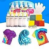 18 stks/set tie-dye kit, inclusief: 18 x tie-dye + 40 x witte rubberen band + 8 x wegwerphandschoenen + 1x instructie + 1 x tafelkleed (5 kleuren)