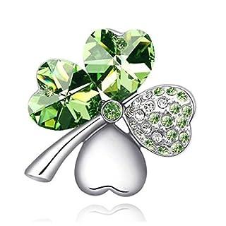 Arpoador 1x Frauen Mädchen Sweet Lucky Four Leaf Clover Form Kristall Diamant Reinigungstuch Pin Brosche Kunstperlen Sicherheitsverschluss (Silber & Grün)