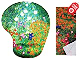 Gustav Klimt Flower Garden Ergonomic Design Mouse Pad with Wrist Support. Gel Hand Rest. Matching Microfiber Cleaning Cloth for Glasses, Cars & Electronics. Mouse Pad for Laptop, PC Computer and Mac.