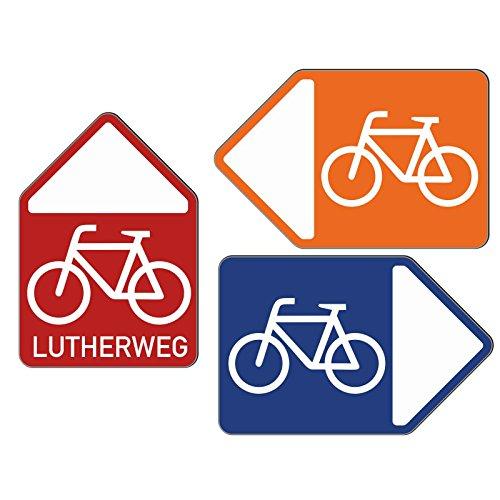 Wegweiser Fahrrad Schild Radweg Alu-Verbund Stabil Wetterfest Grün Links (Schild Fahrrad)